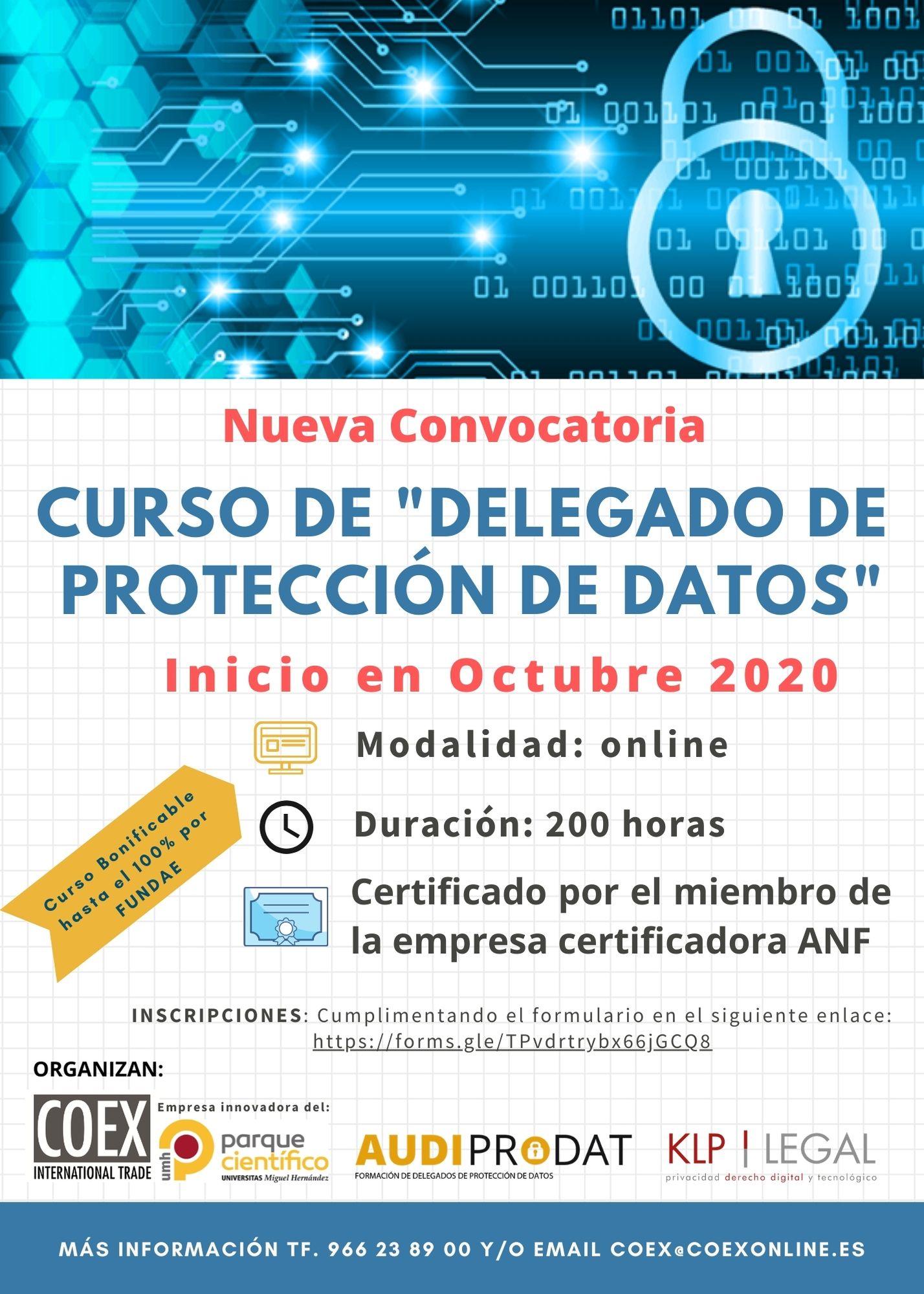 NUEVA CONVOCATORIA CURSO DE DELEGADO DE PROTECCIÓN DE DATOS